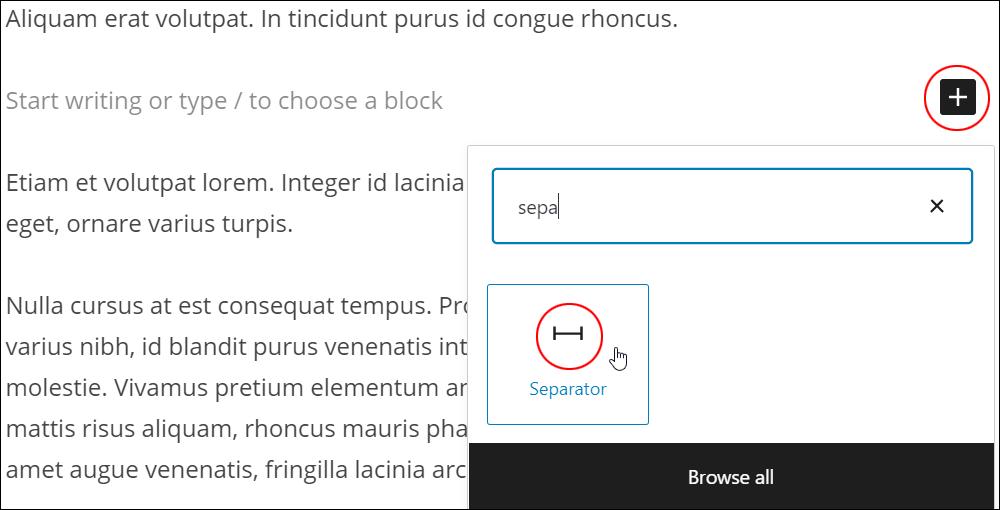 Inserter tool - Separator block.