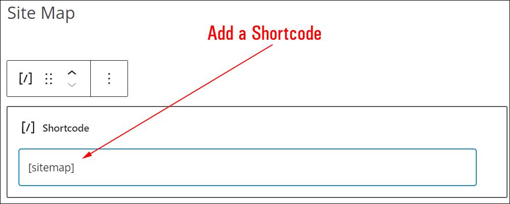 Shortcode block.
