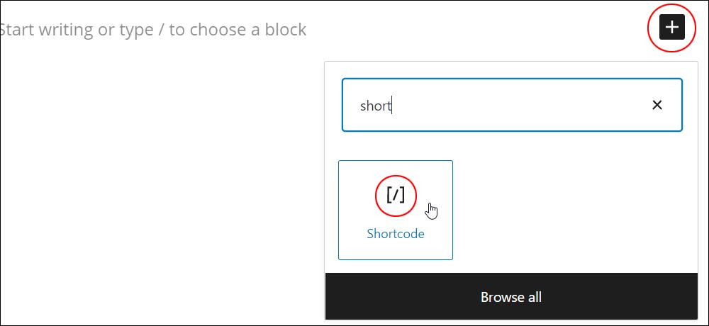 Inserter tool - Add Shortcode block.