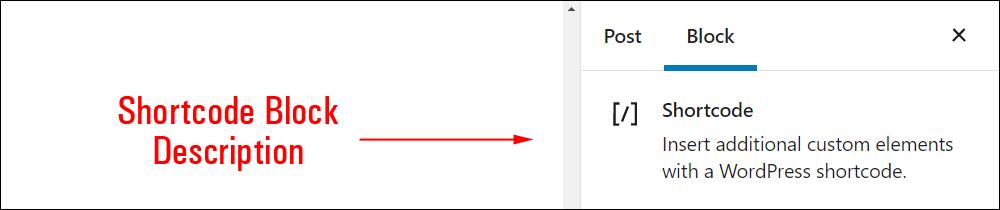 Shortcode block settings.