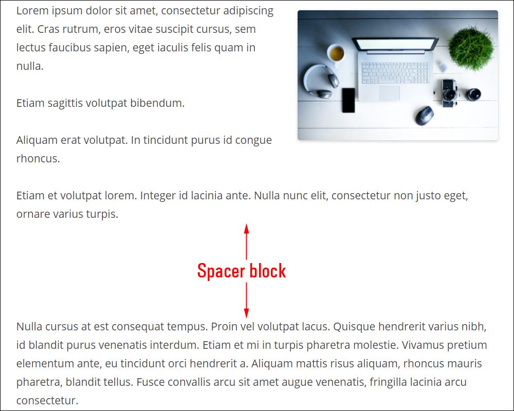 Spacer block.