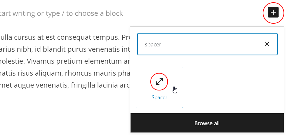 Inserter tool - Spacer block.