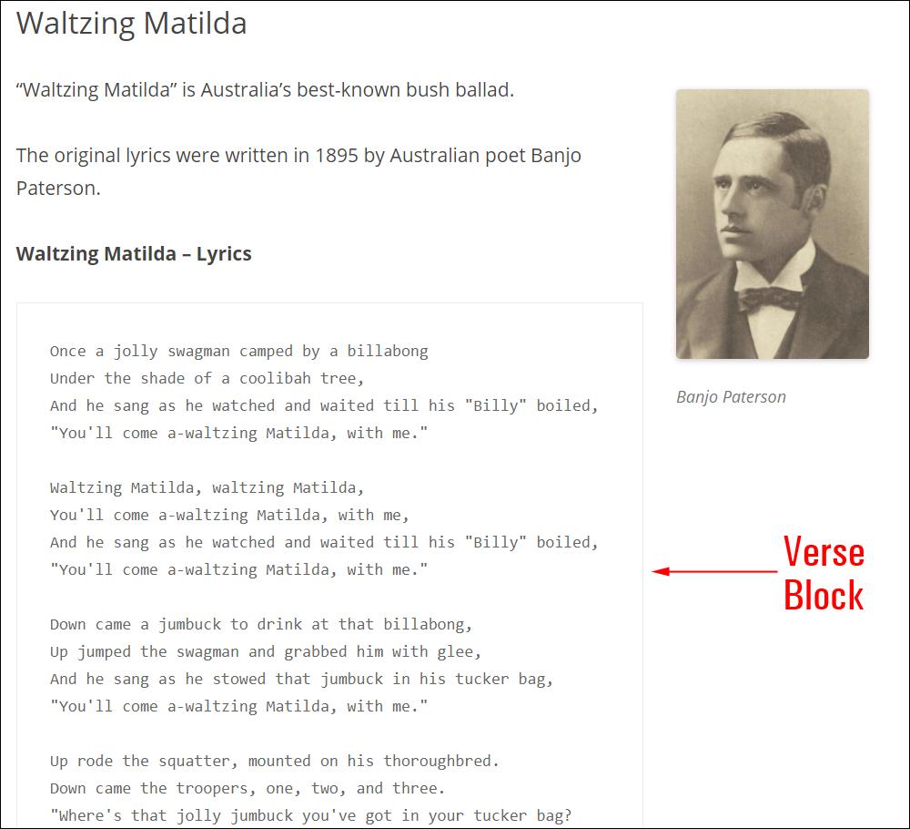 Verse block.