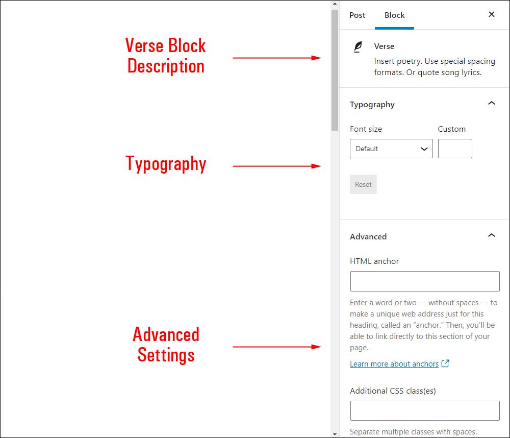 Verse block settings.
