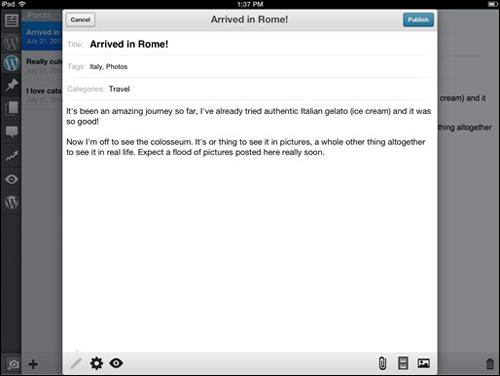 Posting to WordPress via a mobile device.