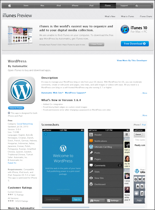 Download the WordPress app from the iTunes store.