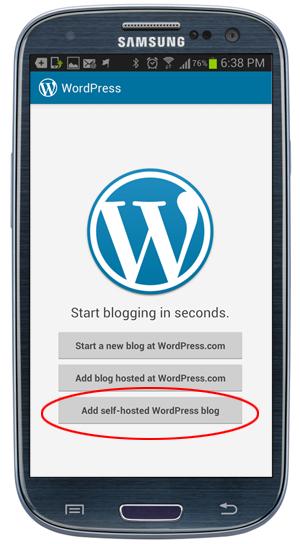 WordPress app - start blogging options