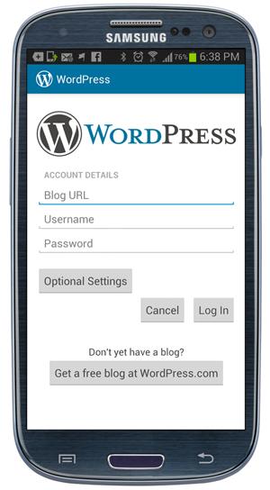 WordPress app - Account details screen.
