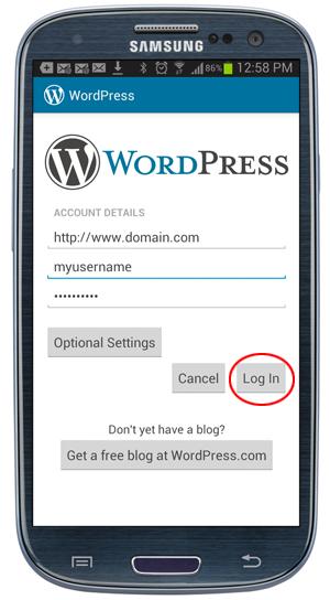 WordPress app - Log in button circled.