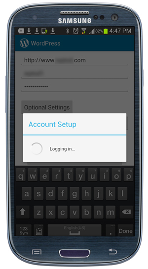 WordPress app connecting to site.