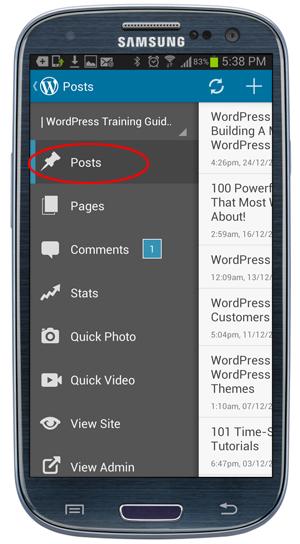 WordPress app - Menu screen.
