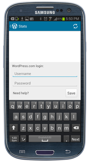 WordPress App - Login details.