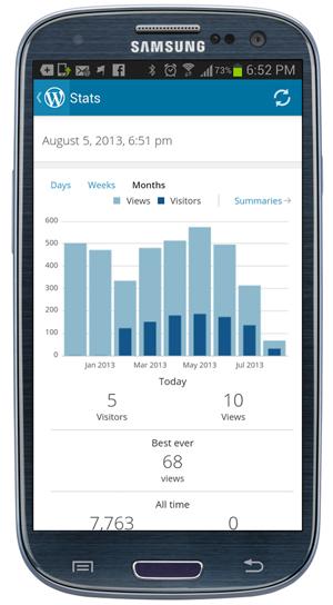 WordPress App -Stats scren.