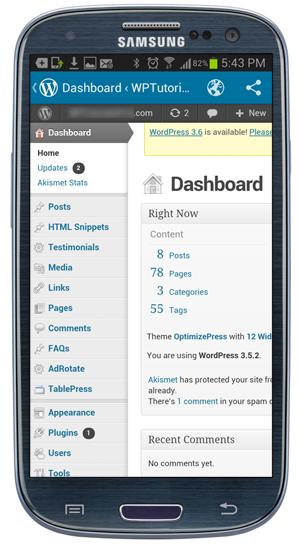 WordPress Dashboard screen - Mobile Device.