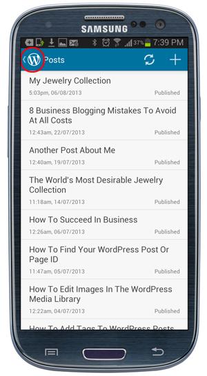 Mobile App - Posts screen - Return to WordPress Dashboard.