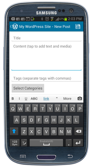 Mobile App - Posts screen - Add new content work area.