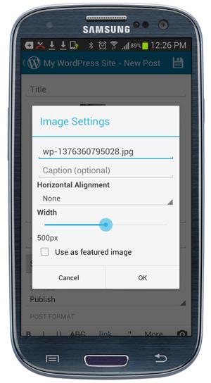 Mobile App - Image Settings screen.
