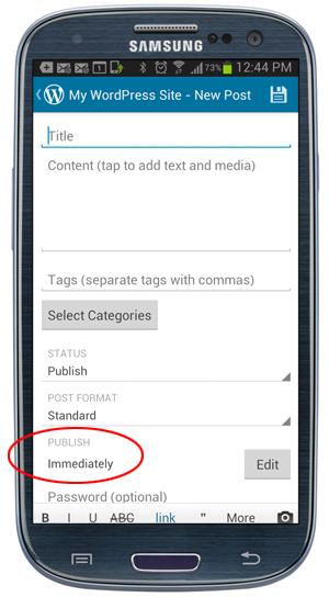Mobile App - Publish settings - Publish Immediately.