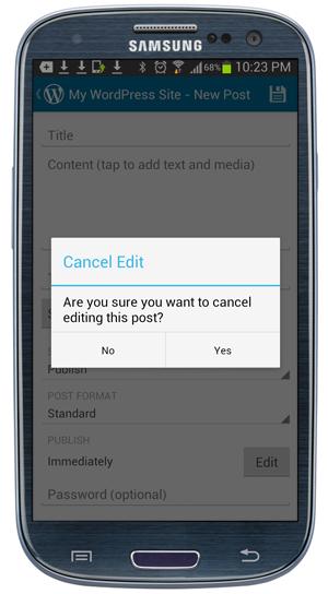 Mobile App - Cancel Edit confirmation popup screen.