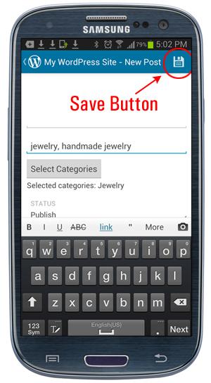 Mobile App - Save button icon.