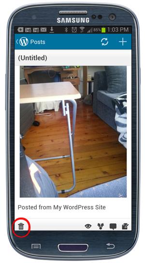 Mobile App - Delete post.