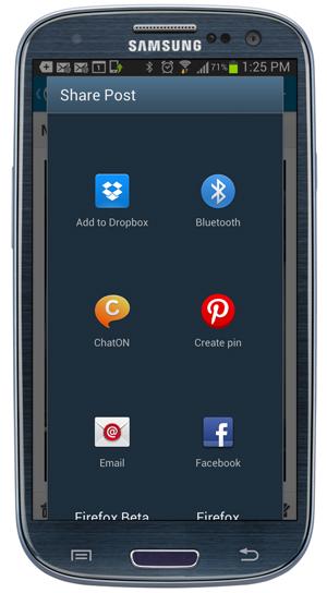 Mobile App - Share Post.