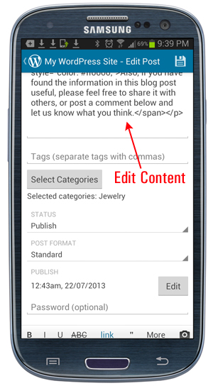 WordPress Mobile App - Edit content