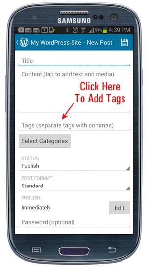 WordPress Mobile App - Add Post tags.