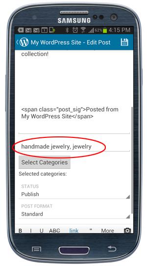 WordPress Mobile App - Post tags.