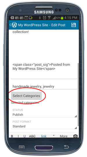WordPress Mobile App - Post Categories button.