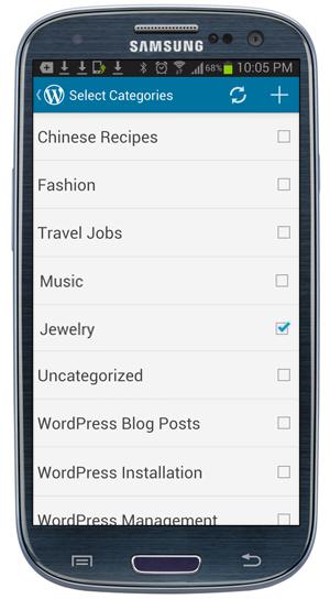WordPress Mobile App - Post categories screen.