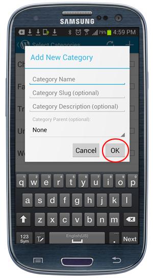 WordPress Mobile App - Add New Category screen.