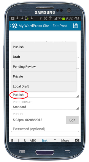 WordPress Mobile App - Post Publishing Status.