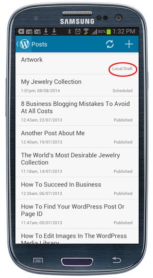 WordPress Mobile App - Local Drafts Post