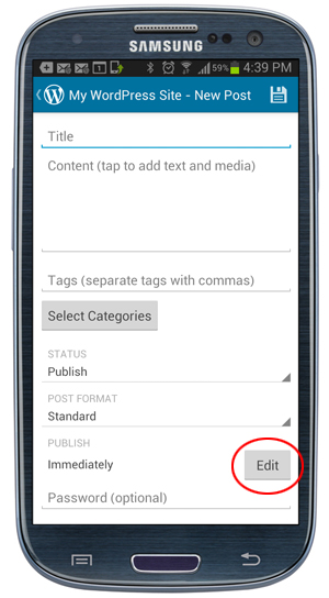WordPress Mobile App - Publish Edit button.