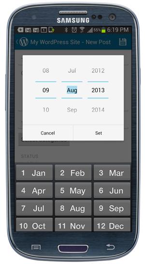 WordPress Mobile App - Post Publishing Dates screen.