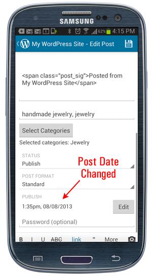 WordPress Mobile App - Post date