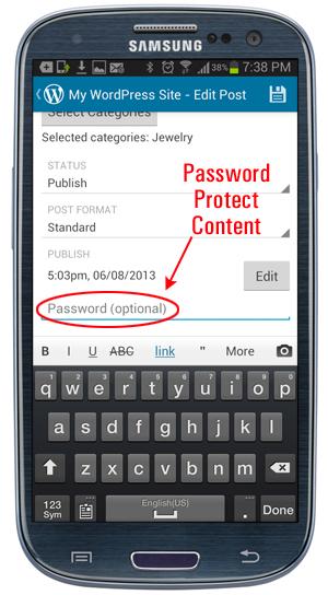 WordPress Mobile App - Password Protect Content option.