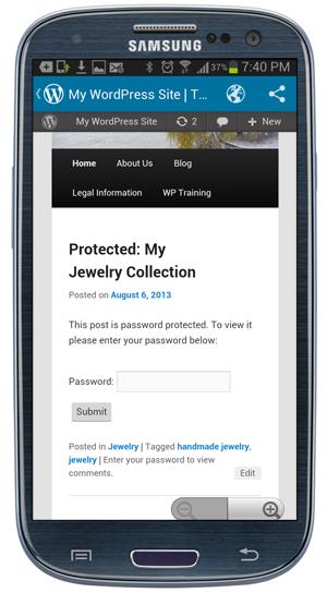 WordPress Mobile App - Password-Protected Post screen.