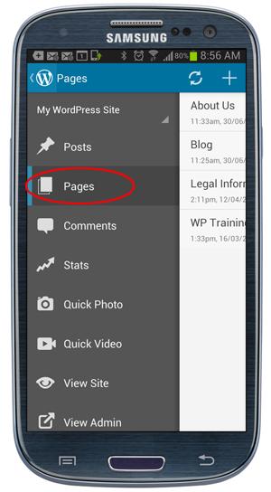 WordPress Mobile App - Pages Menu.