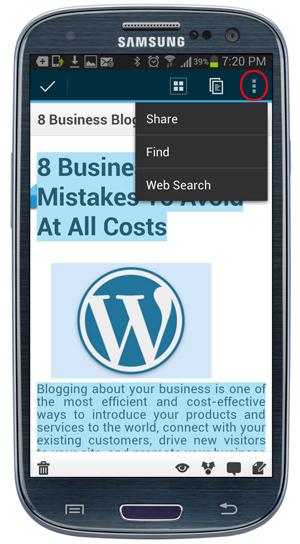 WordPress Mobile App - Content Editing Options Menu.