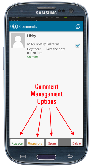WordPress App - Comment Management Options.
