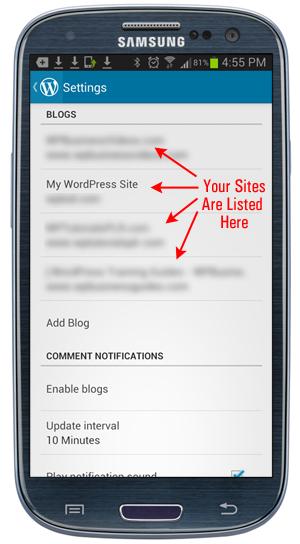 WordPress App - Settings menu.