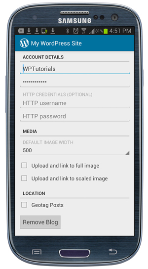 WordPress App: Settings - Account Details screen.