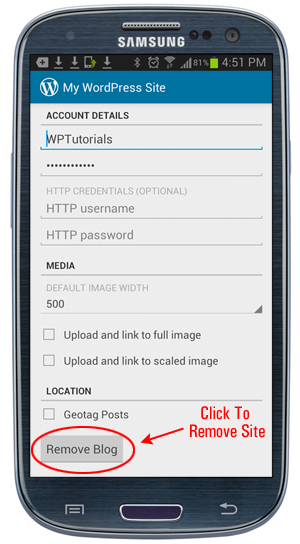 WordPress App: Account Details - Remove Blog button
