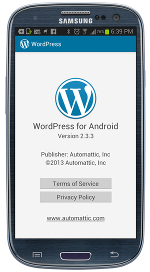 WordPress App: Settings - About screen.