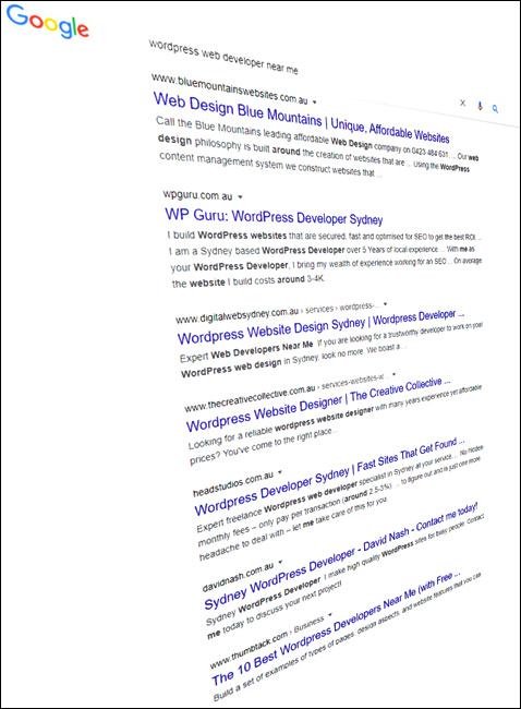 Google search results for WordPress web developer near me.