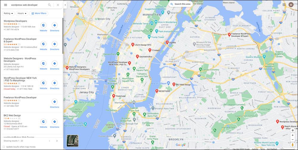 WordPress web developer near me - Google Maps search results