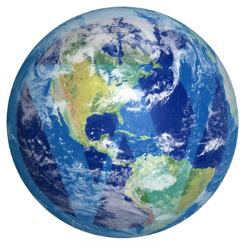 Image of planet earth with superimposed WordPress logo.