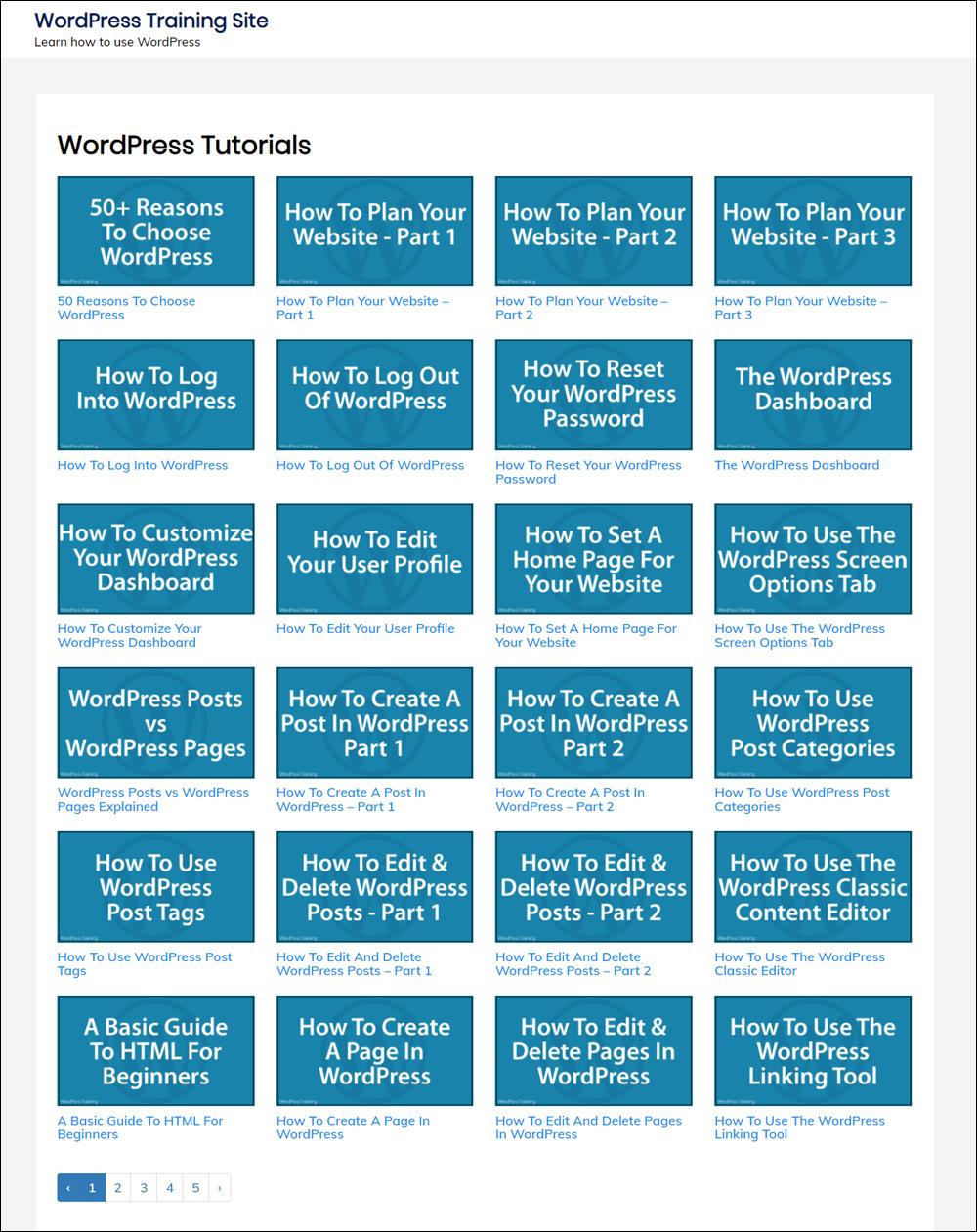 WordPress Tutorials template included with Elite Membership.